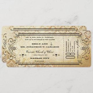 Old Paper Ticket Flourish Typography Wedding Invitation