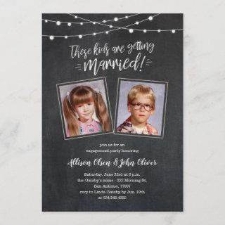 Old Photos Engagement Invitations - Chalk Lights