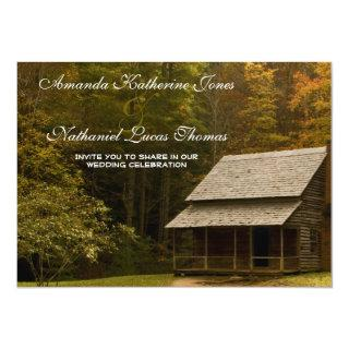 Old Smoky Mountain Country Cabin Rustic Wedding Invitation