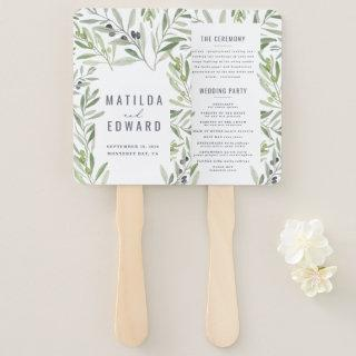 Olive branch watercolor painted wedding hand fan