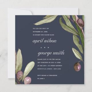 OLIVE NAVY RUSTIC FOLIAGE WE TIED THE KNOT CARD