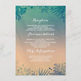 Ombre beach underwater teal wedding details enclosure card