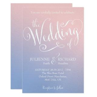 Ombre Blush Baby Blue Fairytale Wedding Invitations
