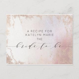 Ombre Blush Pink Frosted Bride to Be Recipe Card