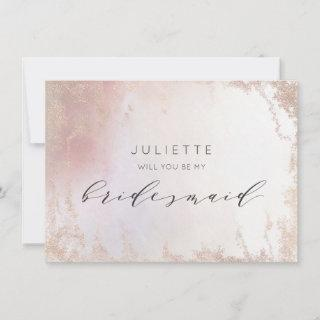 Ombre Blush Pink Frosted Bridesmaid Proposal Card