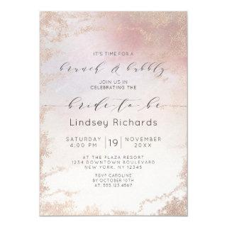 Ombre Blush Pink Frosted Brunch & Bubbly Shower Invitation