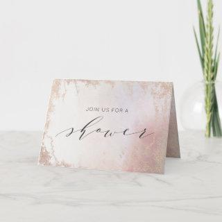 Ombre Blush Pink Frosted Couple's Wedding Shower Invitation