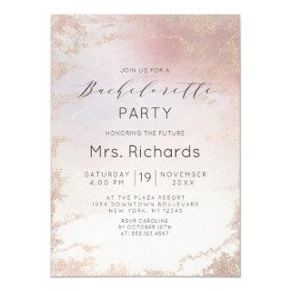 Ombre Blush Pink Frosted Foil Bachelorette Party Invitations
