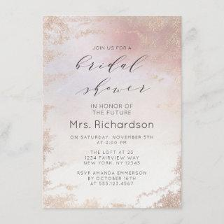 Ombre Blush Pink Frosted Foil Gilded Bridal Shower Invitations