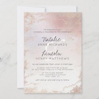 Ombre Blush Pink Frosted Foil Modern Wedding