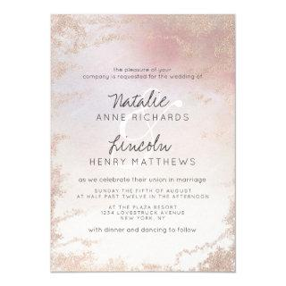 Ombre Blush Pink Frosted Foil Modern Wedding Invitations