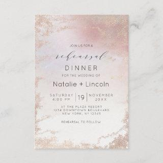 Ombre Blush Pink Frosted Foil Rehearsal Dinner Invitation