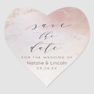Ombre Blush Pink Frosted Foil Save the Date Heart Sticker