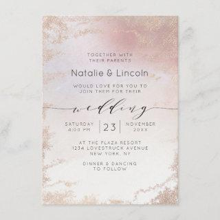 Ombre Blush Pink Frosted Foil Script Font Wedding Invitations