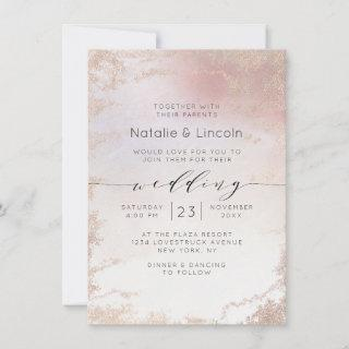 Ombre Blush Pink Frosted Foil Script Font Wedding