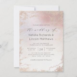 Ombre Blush Pink Frosted Foil Script Wedding