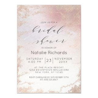 Ombre Blush Pink Frosted Foil Trendy Bridal Shower Invitations