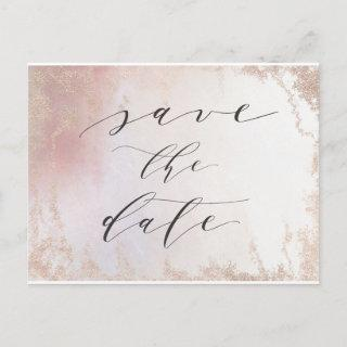 Ombre Blush Pink Frosted Foil Trendy Save the Date Announcement Postcard
