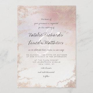 Ombre Blush Pink Frosted Foil Watercolor Wedding Invitation