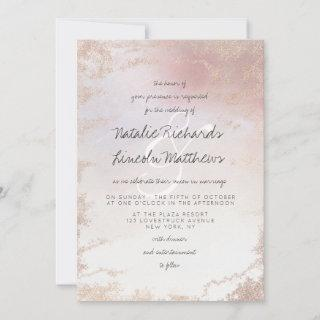 Ombre Blush Pink Frosted Foil Watercolor Wedding