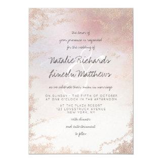 Ombre Blush Pink Frosted Foil Watercolor Wedding Invitations