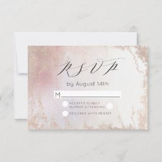 Ombre Blush Pink Frosted Foil Watercolor Wedding RSVP Card
