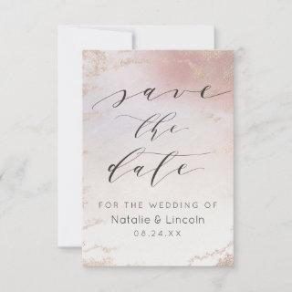 Ombre Blush Pink Frosted Foil Watercolor Wedding Save The Date
