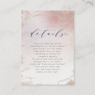 Ombre Blush Pink Frosted Foil Wedding Details Enclosure Card
