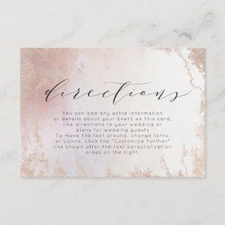 Ombre Blush Pink Frosted Foil Wedding Directions Enclosure Card