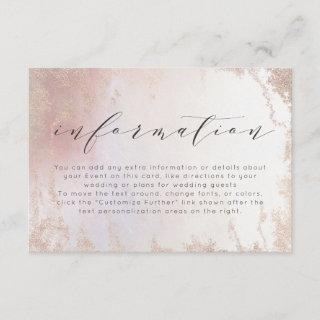 Ombre Blush Pink Frosted Foil Wedding Information Enclosure Card