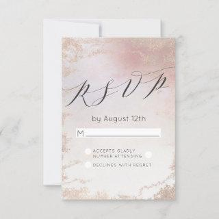 Ombre Blush Pink Frosted Foil Wedding RSVP Reply