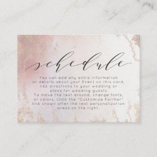 Ombre Blush Pink Frosted Foil Wedding Schedule Enclosure Card