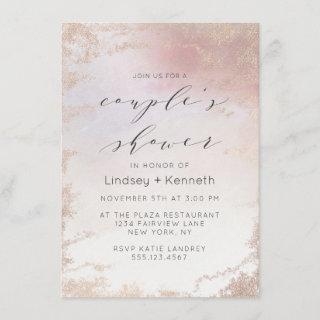 Ombre Blush Pink Frosted Foil Wedding Shower Invitation