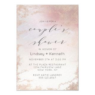 Ombre Blush Pink Frosted Foil Wedding Shower Invitations