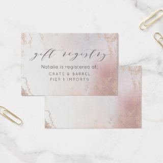 Ombre Blush Pink Frosted Gift Registry Insert Card