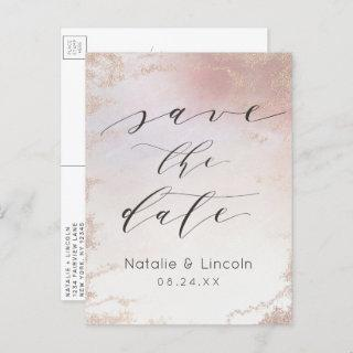 Ombre Blush Pink Frosted Rose Gold Save the Date Announcement Postcard