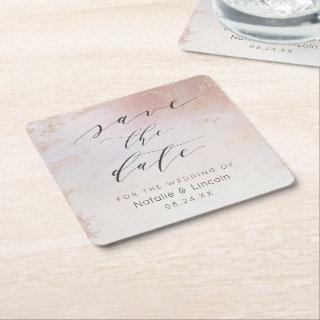 Ombre Blush Pink Frosted Rose Gold Save the Date Square Paper Coaster
