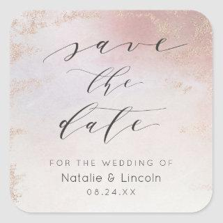 Ombre Blush Pink Frosted Rose Gold Save The Date Square Sticker