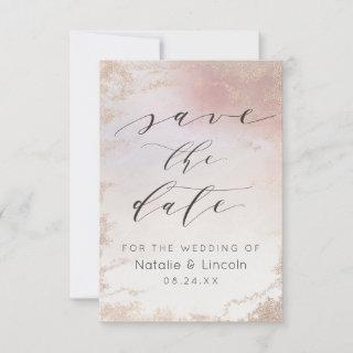 Ombre Blush Pink Frosted Rose Gold Wedding Save The Date