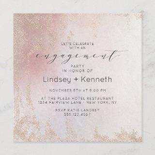 Ombre Blush Pink Frosted Square Engagement Party Invitation