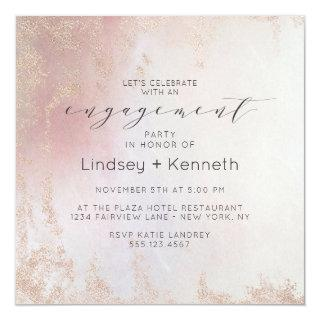 Ombre Blush Pink Frosted Square Engagement Party Invitations