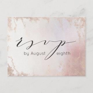 Ombre Blush Pink Frosted Wedding Meal Choice RSVP Postcard