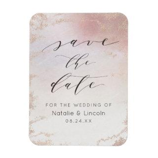 Ombre Blush Pink Frosted Wedding Save the Date Magnet