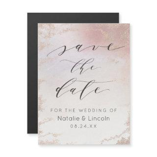 Ombre Blush Pink Frosted Wedding Save the Date Magnetic Invitation