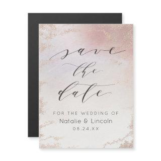 Ombre Blush Pink Frosted Wedding Save the Date Magnetic Invitations