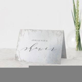 Ombre Dusty Blue Frosted Couple's Wedding Shower Invitations