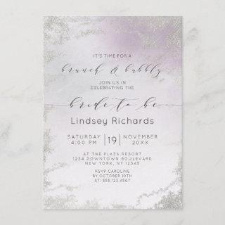 Ombre Light Purple Silver Brunch & Bubbly Shower Invitations