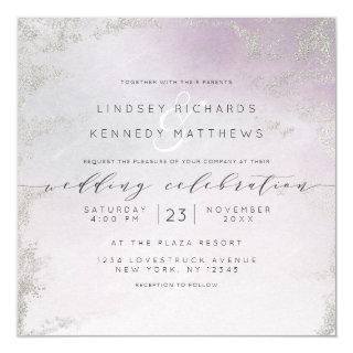 Ombre Light Purple Silver Foil Chic Wedding Square Invitations