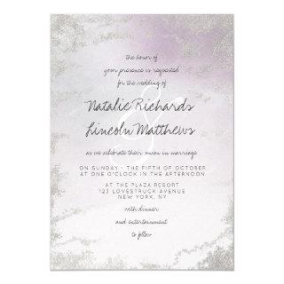 Ombre Light Purple Silver Foil Frosted Wedding Invitation