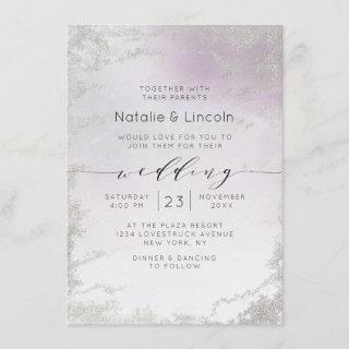 Ombre Light Purple Silver Foil Luxe Script Wedding Invitations